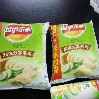 樂事青瓜味薯片(2包+1罐)