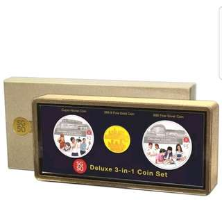 SG 50 Commemorative Deluxe 3 In 1 Coin Set