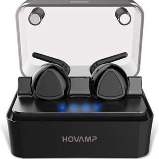 HOVAMP Mini Wireless Bluetooth Headphones Noise Cancelling Bluetooth In-ear Earbuds with Mic for Sport with Intelligent Charging Box (Black)