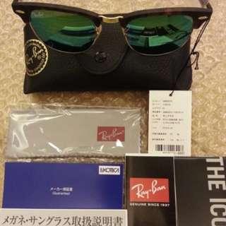 "Rayban Club master型號114519   49""&. 51""全新緑色反光面"