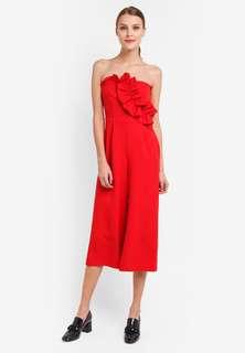 Topshop bardot red jumpsuit