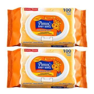 Pureen Baby Wipes 2 x 100s