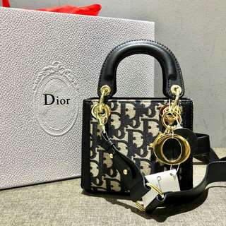 Lady Dior Mini Denim Monogram Black