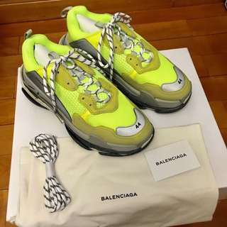[New] Balenciaga SS18 Yellow Triple S Sneakers Size 44