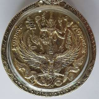 Silver Vishnu Phra Narai Song Krut Coin with Hanuman at the rear BE2550 LP Kalong wrapped in Silver