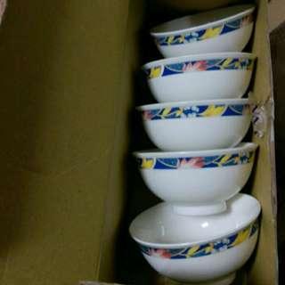韓國製 民族風格瓷碗五入一組