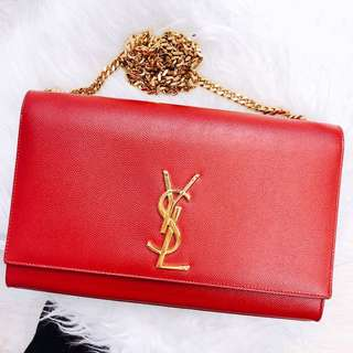 SAINT LAURENT NEW RED MONOGRAM **PRICE REDUCED