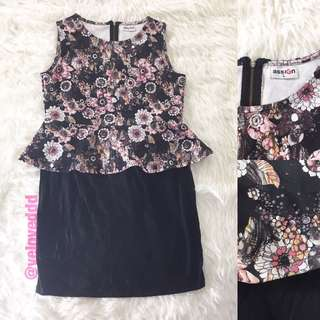 *Assign black floral peplum dress