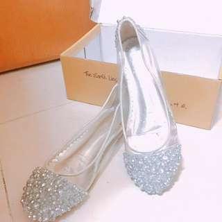 閃亮珠片透明平底鞋