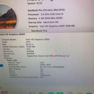 MacBook Pro 13吋 2.5Ghz i5 USB 3.0 2012-Mid 有使用過痕跡