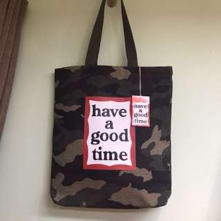 Have a good time 迷彩tote bag