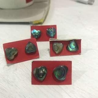 Heart shaped Seashell earring from Myanmar