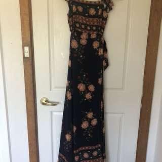 Floral wrap maxi dress size 6