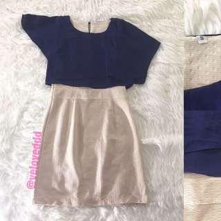 *Korean 2tone navy cream dress