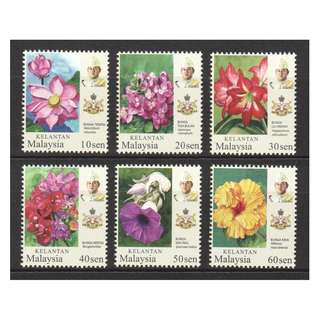 MALAYSIA 2018 KELANTAN STATE GARDEN FLOWERS COMP. SET OF 6 STAMPS IN MINT MNH UNUSED CONDITION