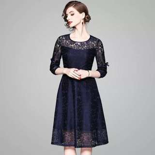 Round neck bow tie sleeve midi embroidered lace dress cocktail evening party formal occasion