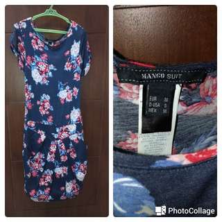 Navy blue printed dress from Mango
