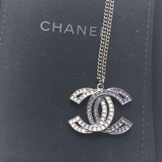 Chanel Logo silver Necklace CC 雙面 銀黑色 項 頸 鏈