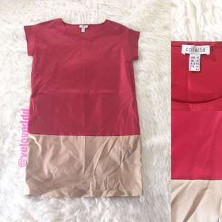 *Colette 2tone red cream loose dress