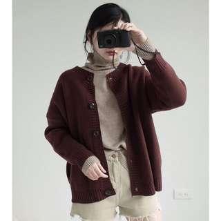 木質圓釦針織外套(咖啡)
