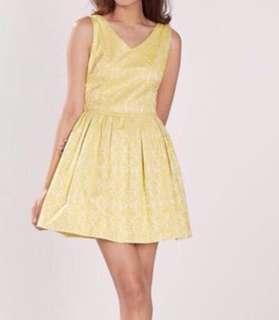 *Osmose yellow jacquard shanghai dress