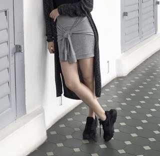 Bershka Grey Tied Skirt / Bodycon Skirt / Sporty