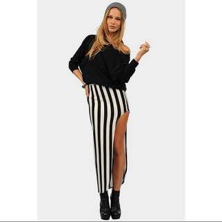 BN Black & White Maxi Striped Skirt