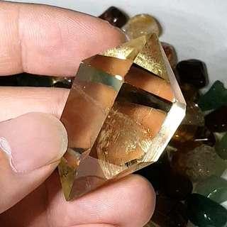Double Terminated Citrine Quartz Crystal for abundance, prosperity and wealth 黄水晶 招财