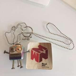 Hand make台灣wood man 長頸鍊/鎖匙扣