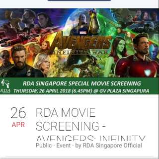 RDA CHARITY MOVIE - AVENGERS: INFINITY WAR