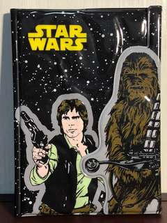 Sun-star Stationery Star Wars - B6 Notebook with puff magnetic cover - Han Solo, Chewbacca, and the Millennium Falcon