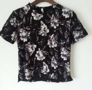 Ulzzang Black Floral Top