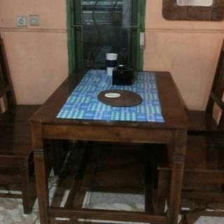 Meja makan kayu jati asli Jawa Timur