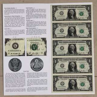 Uncut US 1 Dollar 5 Pieces