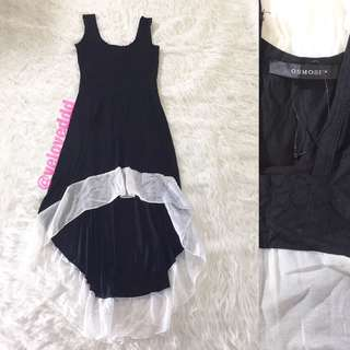 *Osmose black with white frill assym highlow dress