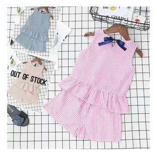 Pink and Blue Sleeveless top with Shorts