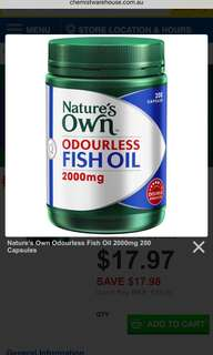 Nature's Own Odourless Fish Oil 2000mg 200 Capsules- Australia Product