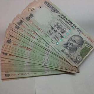 India 100 Rupees  Notes 2016 Unc Running