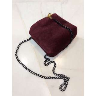 Maroon Velvet Shoulder / Sling bag
