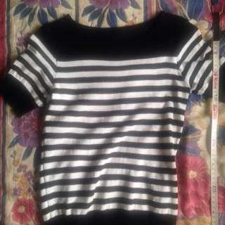 黑白間條針織短袖上衣