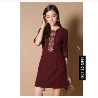 Tsw Thestagewalk Daisy Crochet Dress In Wine Red XS The Stage Walk