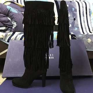 Stuart weitzman black fringie suede boots