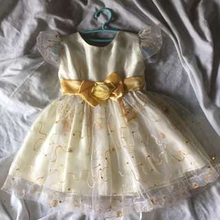 Yellow lace big ribbon dress for Todlers