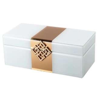 Pearl White Glass Jewelry Box
