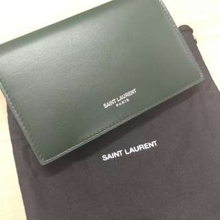 YSL FRAGMENTS FLAP WALLET IN DARK GREEN LEATHER 全新YSL 銀包 散紙包