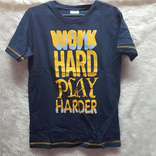 [BRAND NEW] Human Work Hard Play Harder Blue Orange T-Shirt