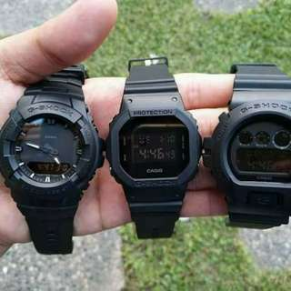 gshock!!! with box, tincan, manual & paperbag, water proof  luminous light