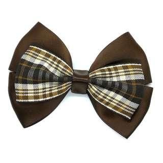 Handmade Korean Style British Grid Checker Black Coffee Hair Bow Clip Etc