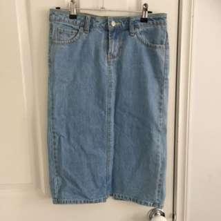 Vintage midi denim skirt