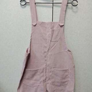 🚚 🎆皮粉色 燈芯絨吊帶褲